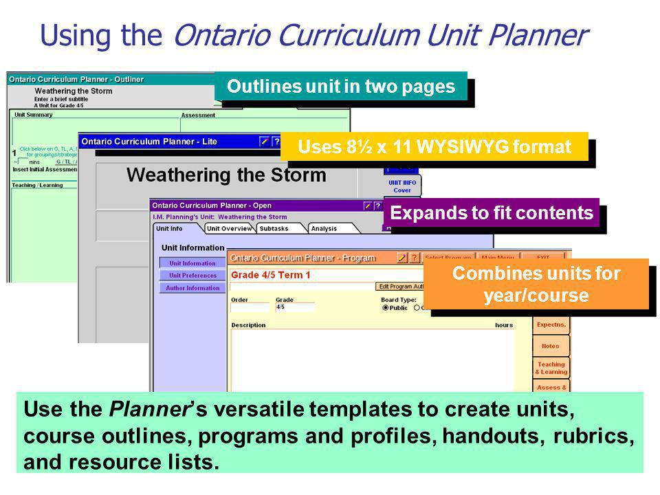 Outlines unit in two pages Uses 8½ x 11 WYSIWYG format Expands to fit contents Use the Planners versatile templates to create units, course outlines,
