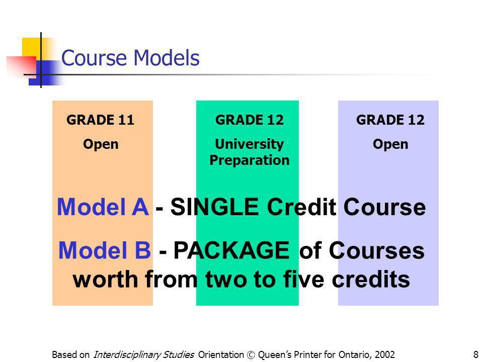 Based on Interdisciplinary Studies Orientation © Queens Printer for Ontario, 20028 Course Models GRADE 11 Open GRADE 12 University Preparation GRADE 1
