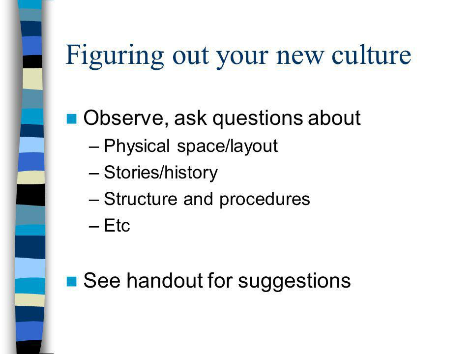 Figuring out your new culture Observe, ask questions about –Physical space/layout –Stories/history –Structure and procedures –Etc See handout for sugg