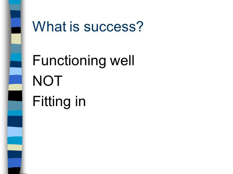 What is success Functioning well NOT Fitting in