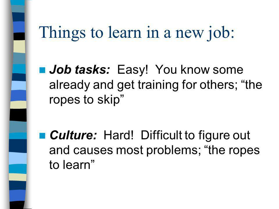 Things to learn in a new job: Job tasks: Easy.