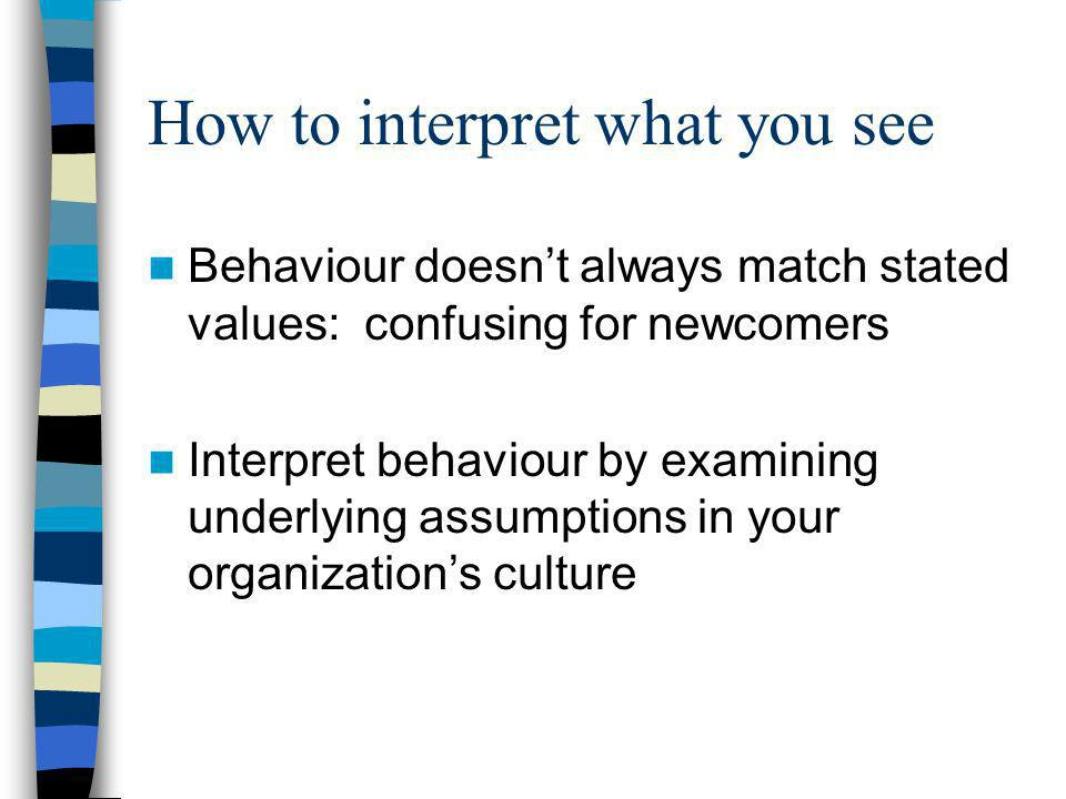 How to interpret what you see Behaviour doesnt always match stated values: confusing for newcomers Interpret behaviour by examining underlying assumpt