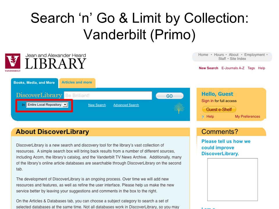 Search n Go & Limit by Collection: Vanderbilt (Primo)