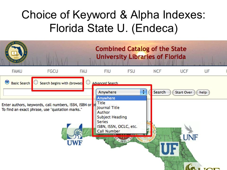 Choice of Keyword & Alpha Indexes: Florida State U. (Endeca)