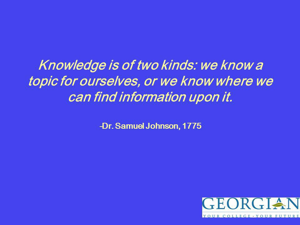 Knowledge is of two kinds: we know a topic for ourselves, or we know where we can find information upon it.