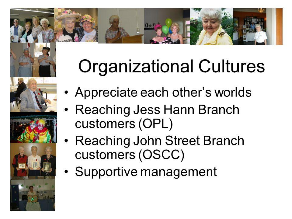 Organizational Cultures Appreciate each others worlds Reaching Jess Hann Branch customers (OPL) Reaching John Street Branch customers (OSCC) Supportive management