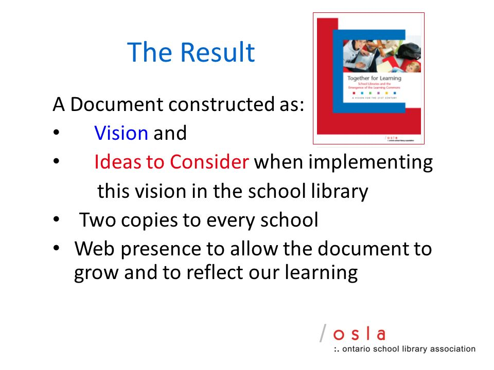 The Result A Document constructed as: Vision and Ideas to Consider when implementing this vision in the school library Two copies to every school Web presence to allow the document to grow and to reflect our learning