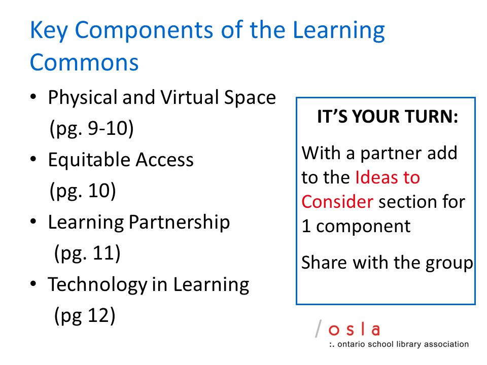 Key Components of the Learning Commons Physical and Virtual Space (pg.