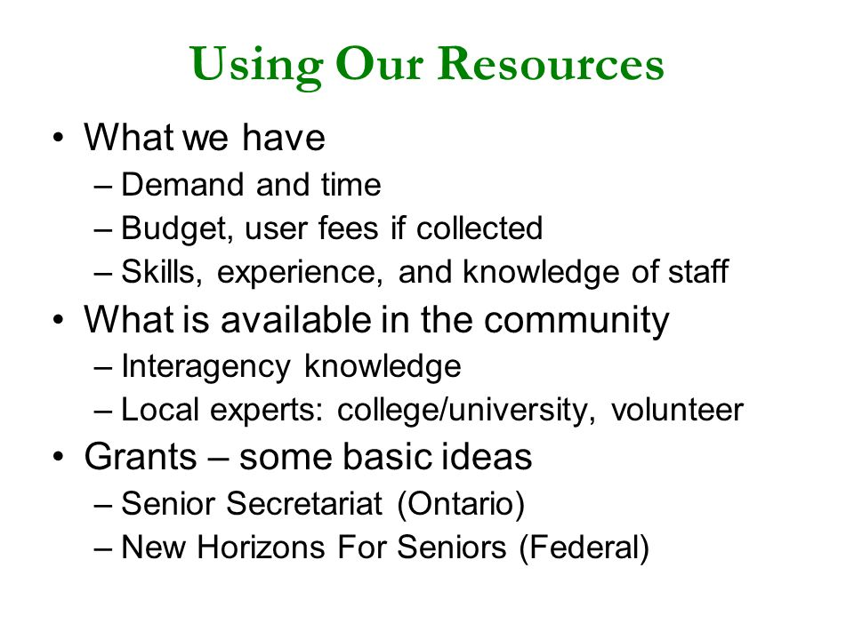 Using Our Resources What we have –Demand and time –Budget, user fees if collected –Skills, experience, and knowledge of staff What is available in the