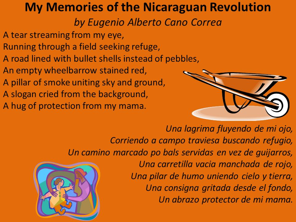 My Memories of the Nicaraguan Revolution by Eugenio Alberto Cano Correa A tear streaming from my eye, Running through a field seeking refuge, A road lined with bullet shells instead of pebbles, An empty wheelbarrow stained red, A pillar of smoke uniting sky and ground, A slogan cried from the background, A hug of protection from my mama.