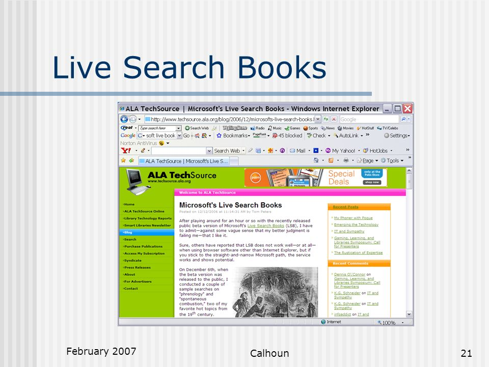 February 2007 Calhoun21 Live Search Books