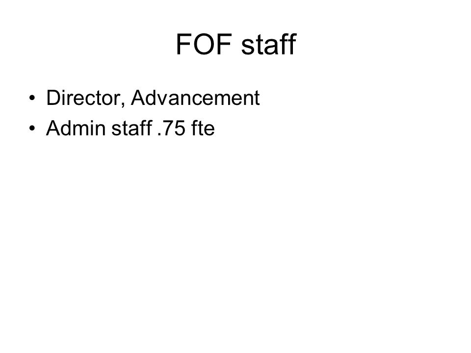 FOF staff Director, Advancement Admin staff.75 fte