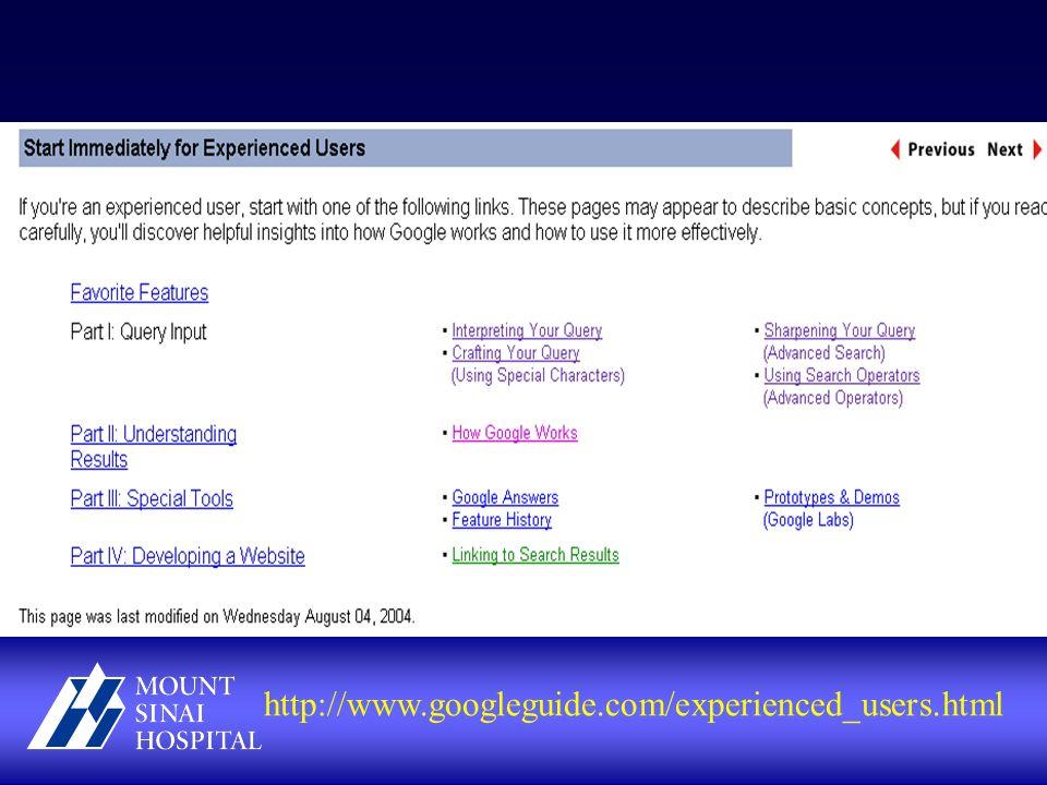 http://www.googleguide.com/experienced_users.html