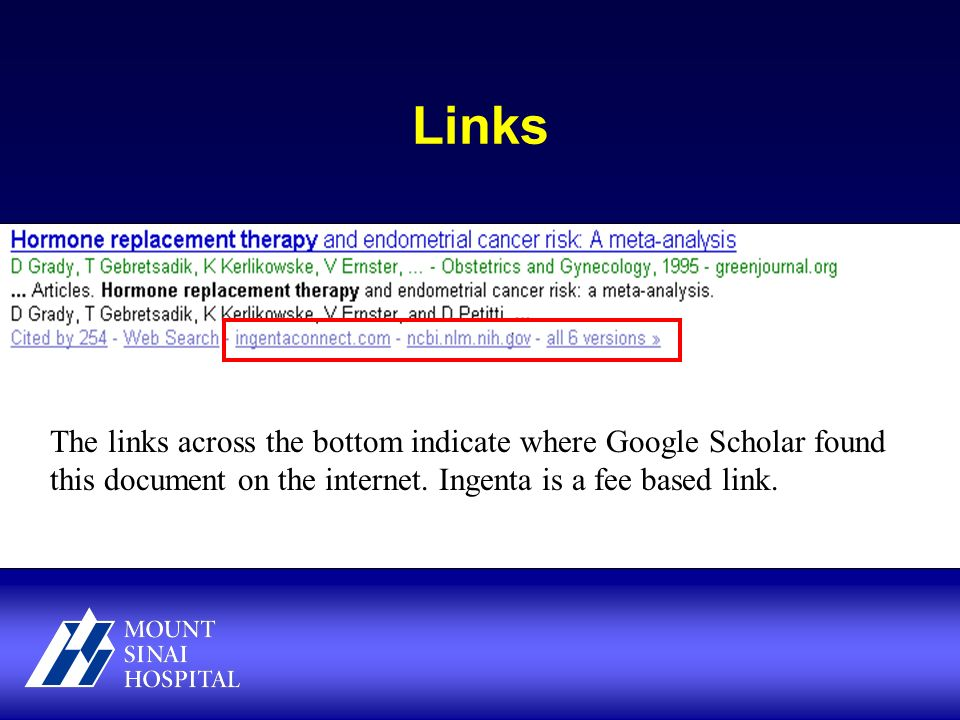 Links The links across the bottom indicate where Google Scholar found this document on the internet.