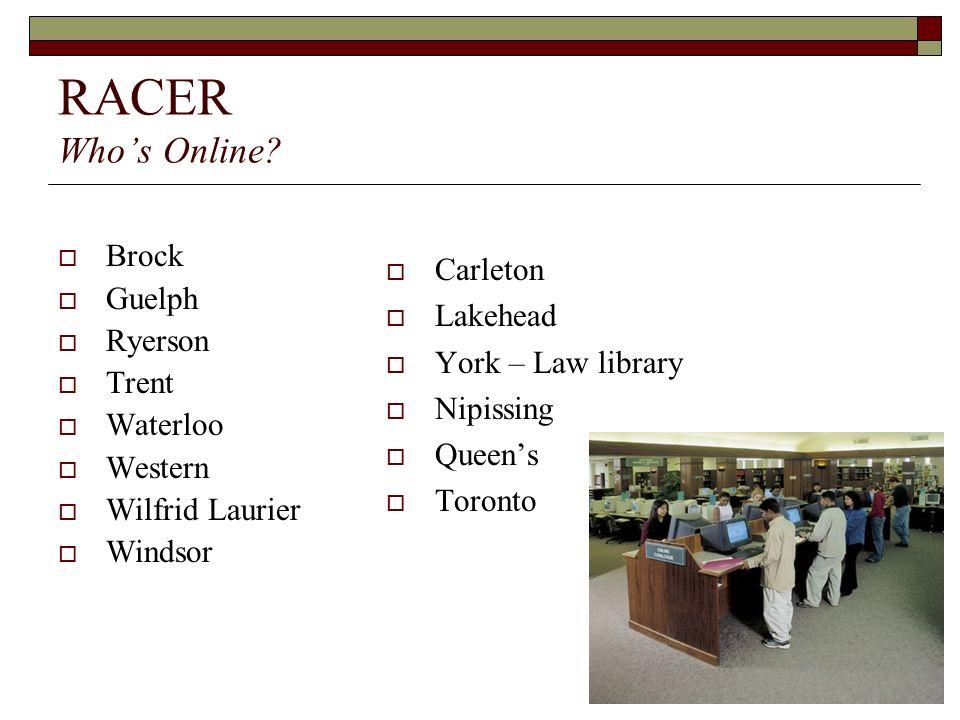 RACER Whos Online? Brock Guelph Ryerson Trent Waterloo Western Wilfrid Laurier Windsor Carleton Lakehead York – Law library Nipissing Queens Toronto