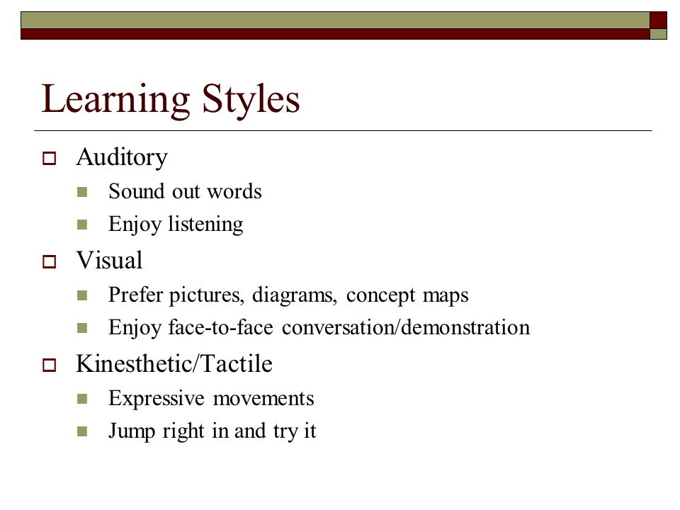 Learning Styles Auditory Sound out words Enjoy listening Visual Prefer pictures, diagrams, concept maps Enjoy face-to-face conversation/demonstration Kinesthetic/Tactile Expressive movements Jump right in and try it