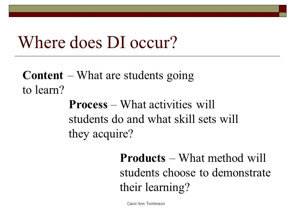 Carol Ann Tomlinson Where does DI occur. Content – What are students going to learn.
