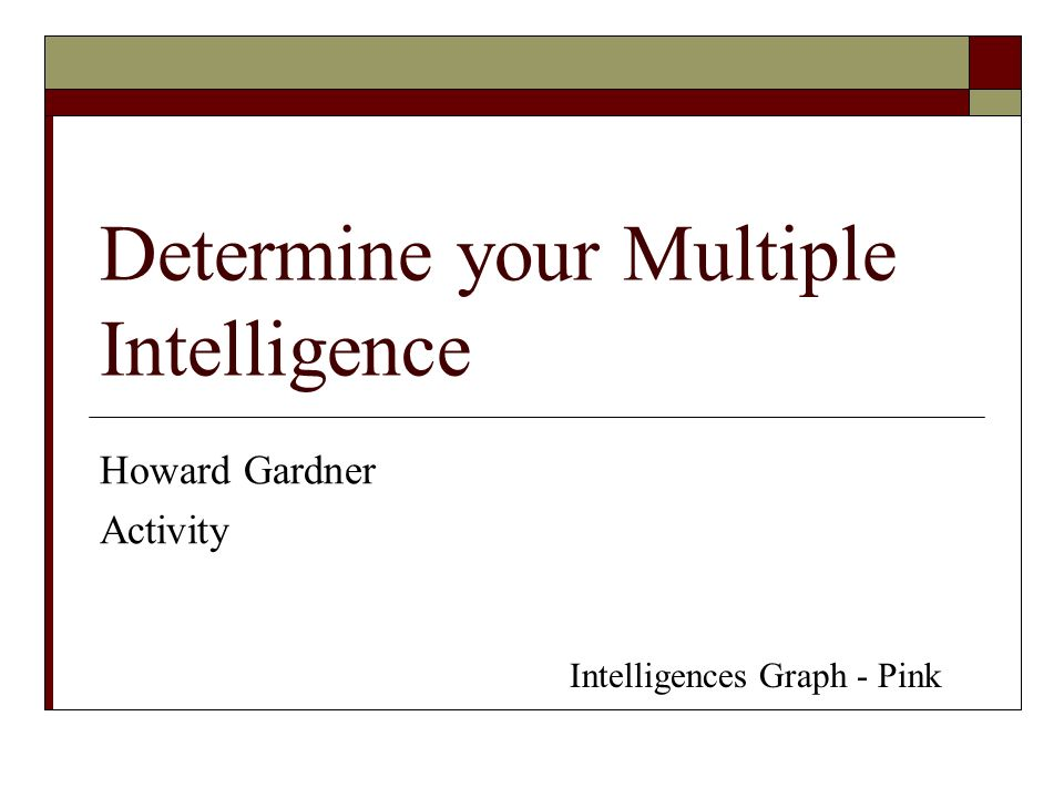 Determine your Multiple Intelligence Howard Gardner Activity Intelligences Graph - Pink