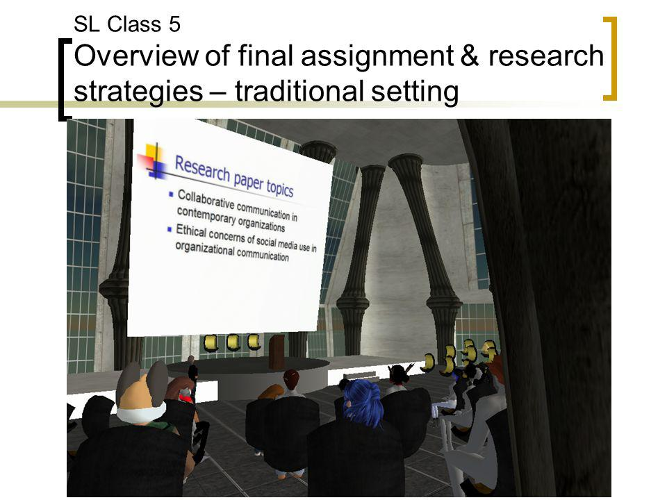 SL Class 5 Overview of final assignment & research strategies – traditional setting