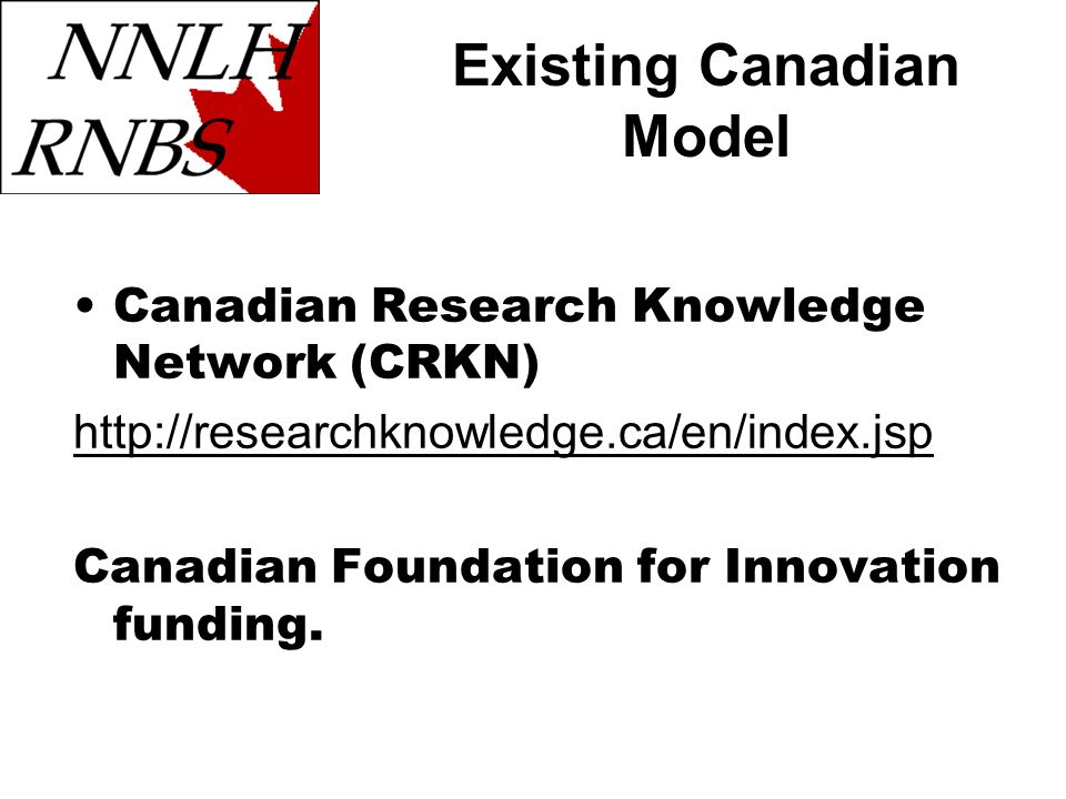 Existing Canadian Model Canadian Research Knowledge Network (CRKN) http://researchknowledge.ca/en/index.jsp Canadian Foundation for Innovation funding