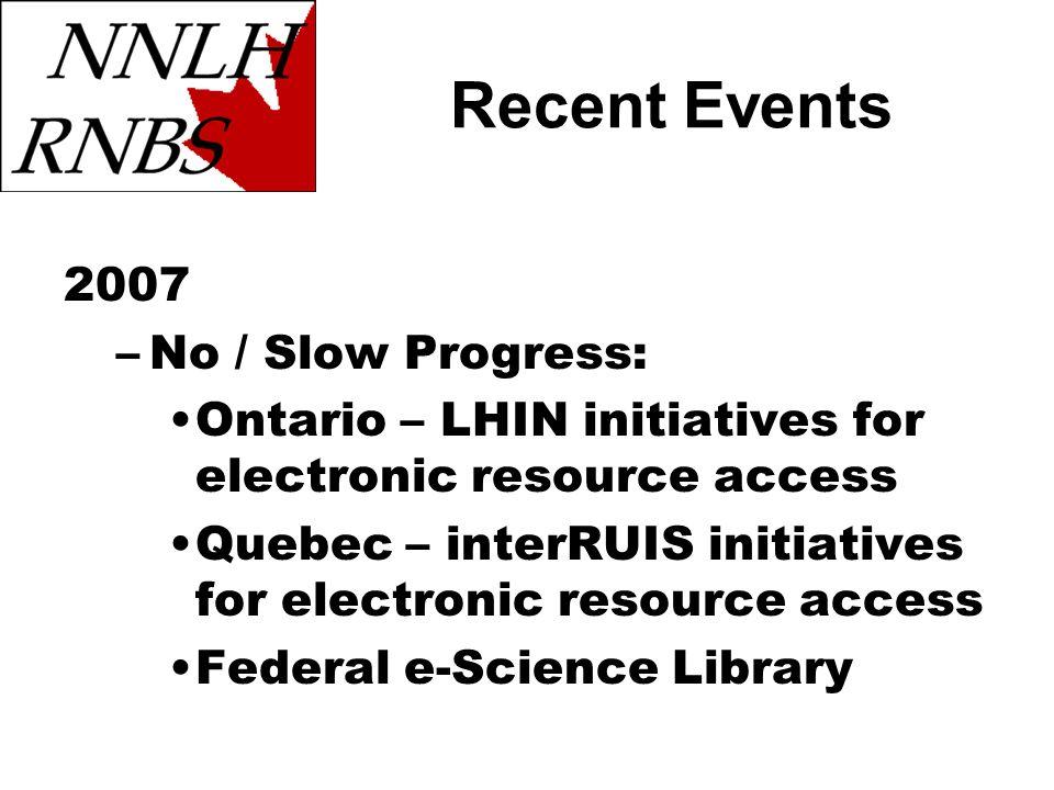2007 –No / Slow Progress: Ontario – LHIN initiatives for electronic resource access Quebec – interRUIS initiatives for electronic resource access Fede