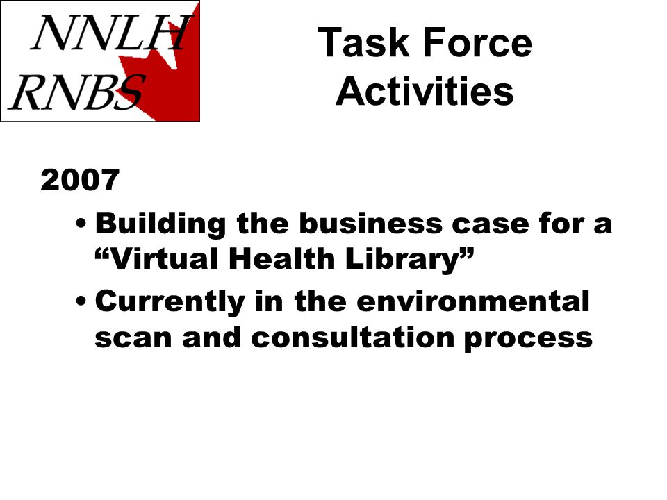 Task Force Activities 2007 Building the business case for a Virtual Health Library Currently in the environmental scan and consultation process
