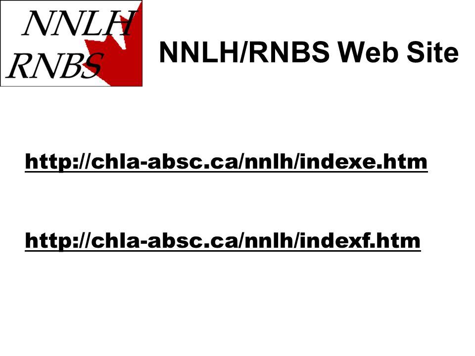 NNLH/RNBS Web Site http://chla-absc.ca/nnlh/indexe.htm http://chla-absc.ca/nnlh/indexf.htm