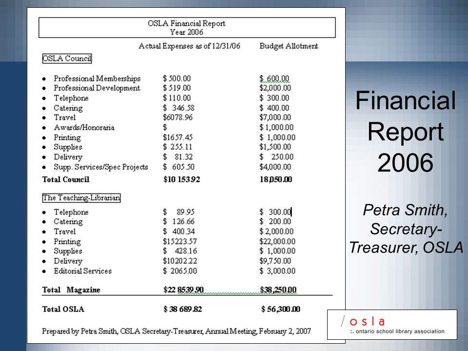 Financial Report 2006 Petra Smith, Secretary- Treasurer, OSLA