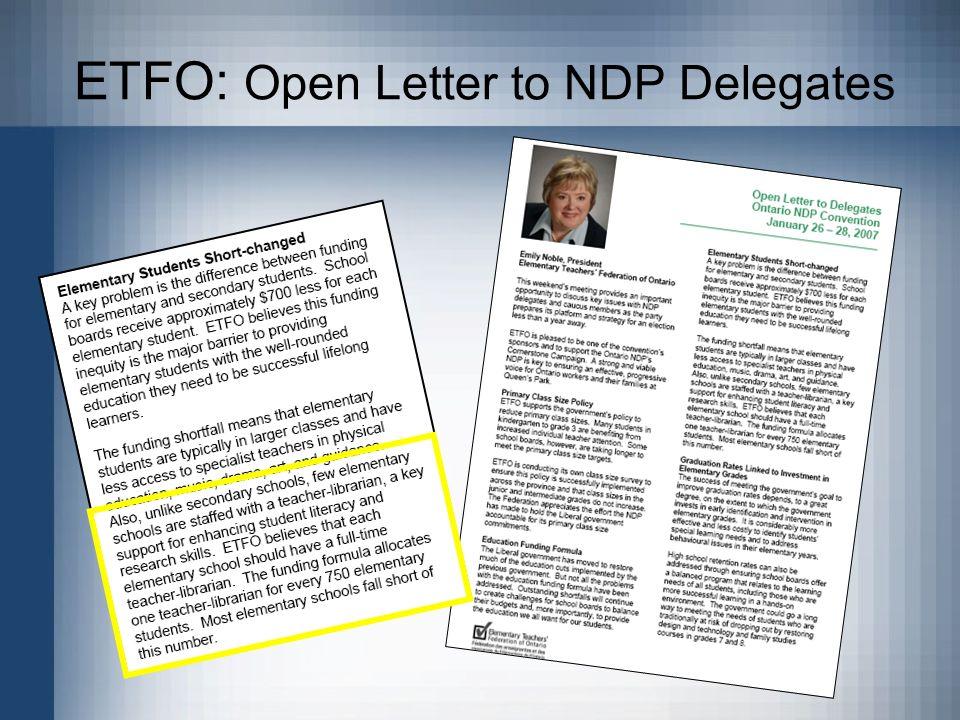 ETFO: Open Letter to NDP Delegates