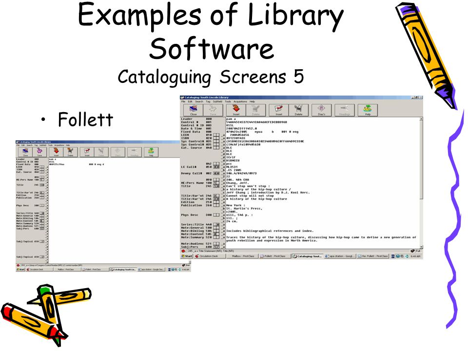 Examples of Library Software Cataloguing Screens 5 Follett