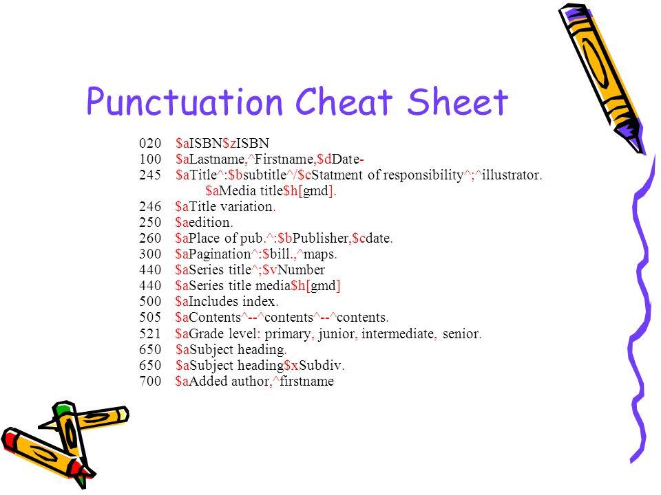 Punctuation Cheat Sheet 020 $aISBN$zISBN 100 $aLastname,^Firstname,$dDate- 245 $aTitle^:$bsubtitle^/$cStatment of responsibility^;^illustrator. $aMedi