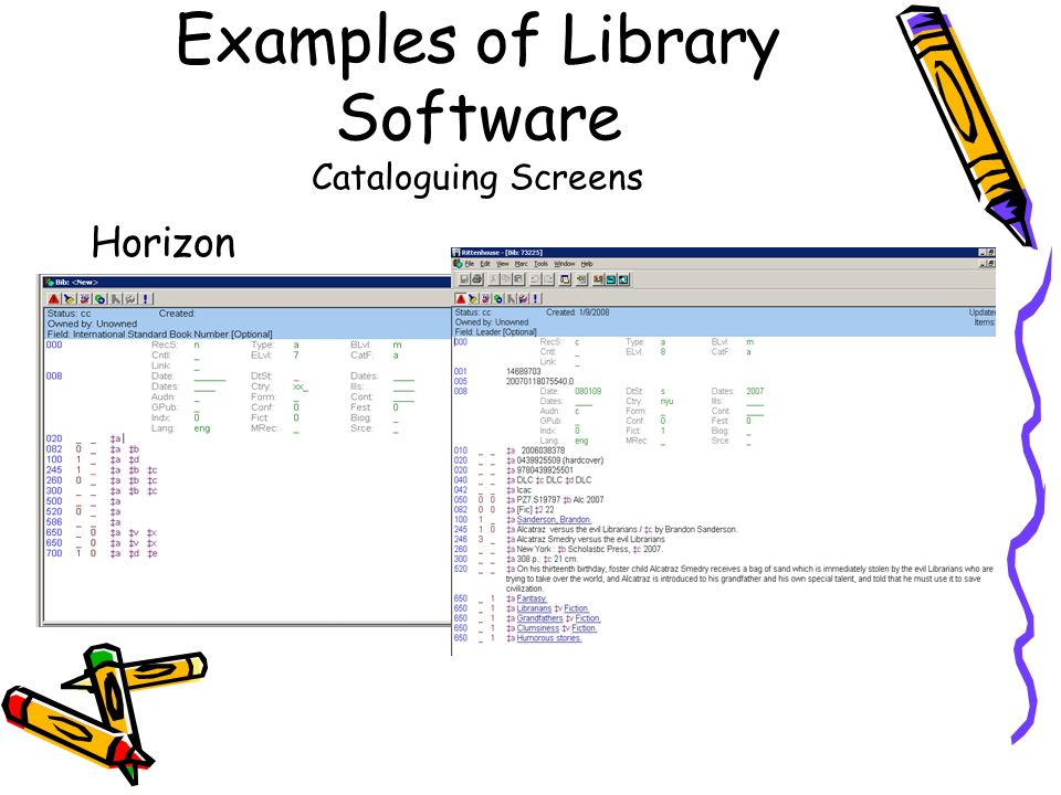 Examples of Library Software Cataloguing Screens Horizon