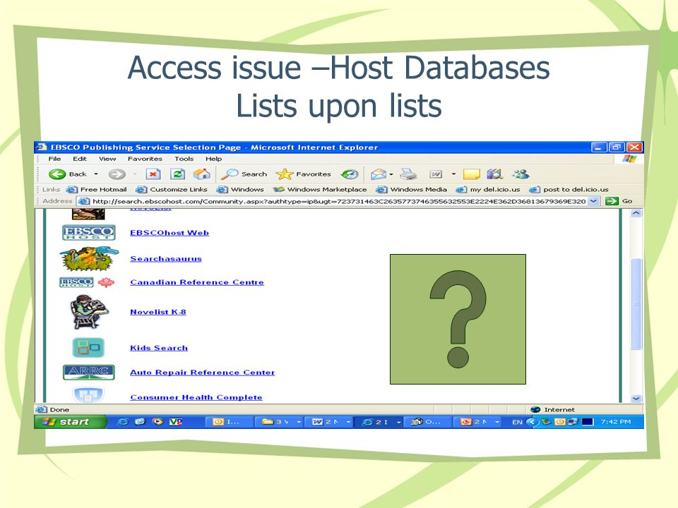 Access issue –Host Databases Lists upon lists