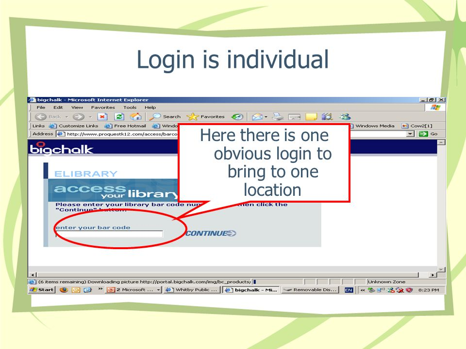Login is individual Here there is one obvious login to bring to one location