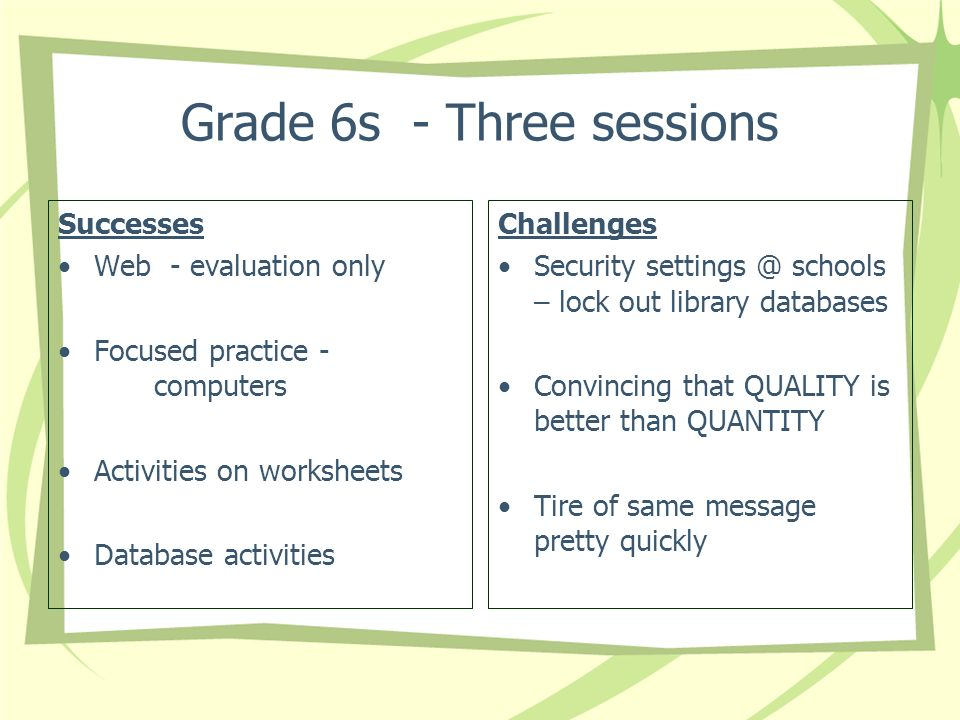Grade 6s - Three sessions Successes Web - evaluation only Focused practice - computers Activities on worksheets Database activities Challenges Security settings @ schools – lock out library databases Convincing that QUALITY is better than QUANTITY Tire of same message pretty quickly
