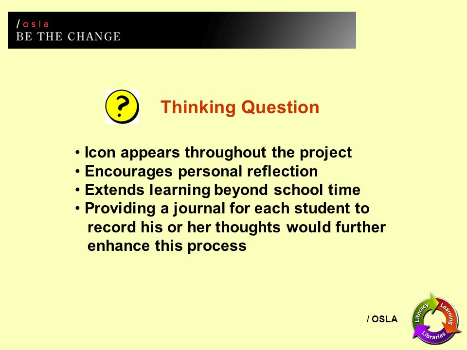 / OSLA Icon appears throughout the project Encourages personal reflection Extends learning beyond school time Providing a journal for each student to record his or her thoughts would further enhance this process Thinking Question