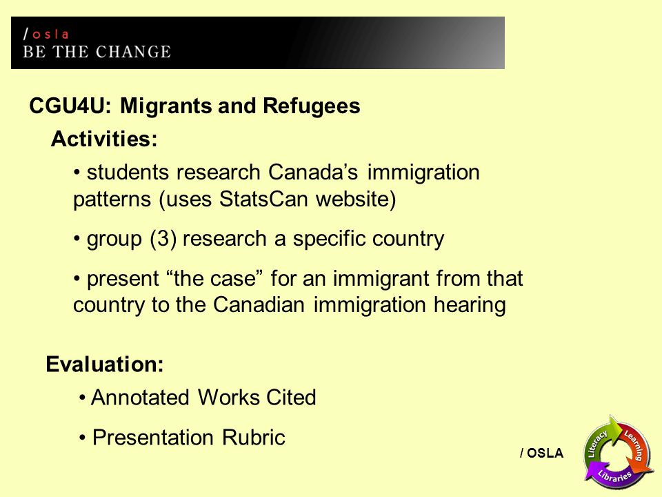/ OSLA CGU4U: Migrants and Refugees Activities: students research Canadas immigration patterns (uses StatsCan website) group (3) research a specific c
