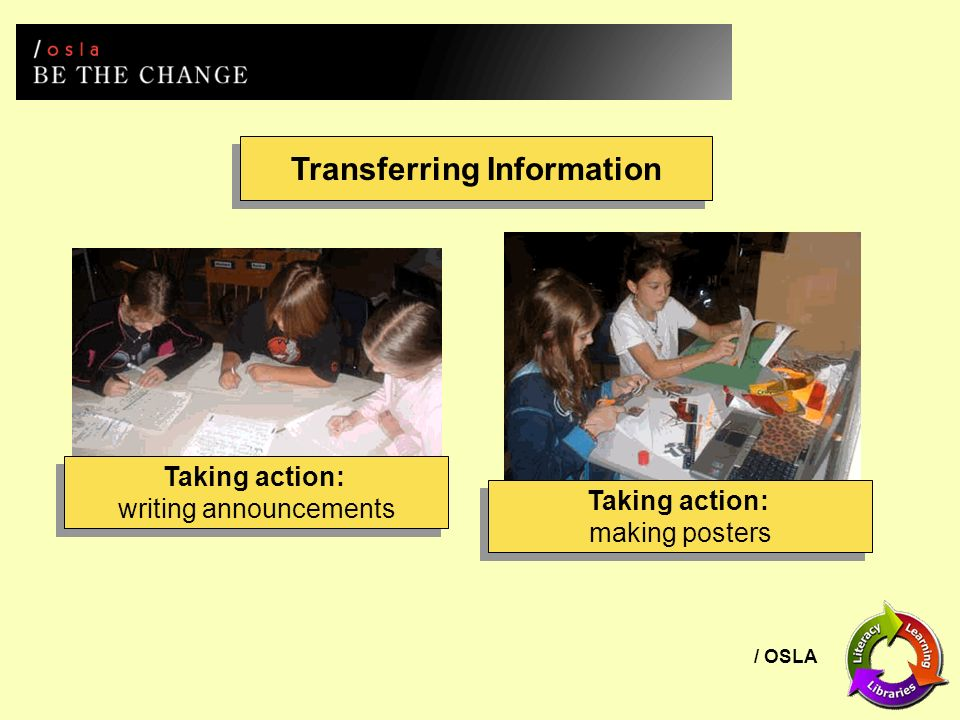 / OSLA Transferring Information Taking action: writing announcements Taking action: writing announcements Taking action: making posters Taking action: