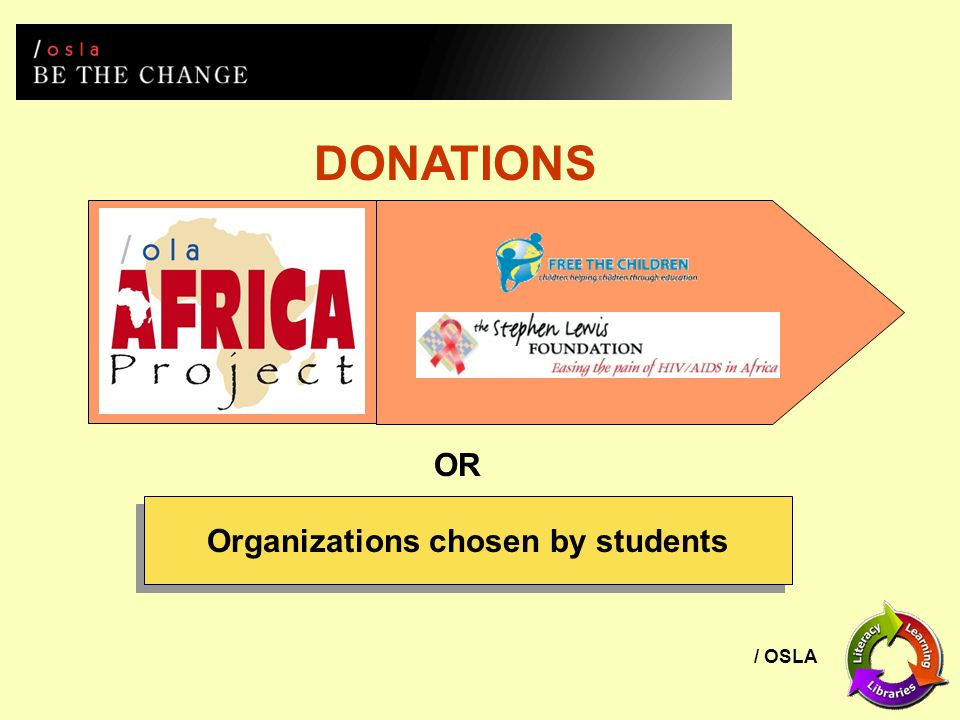/ OSLA DONATIONS OR Organizations chosen by students