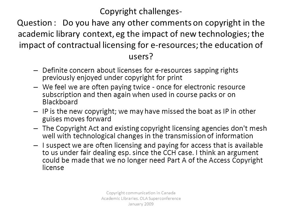 Copyright communication in Canada Academic Libraries.