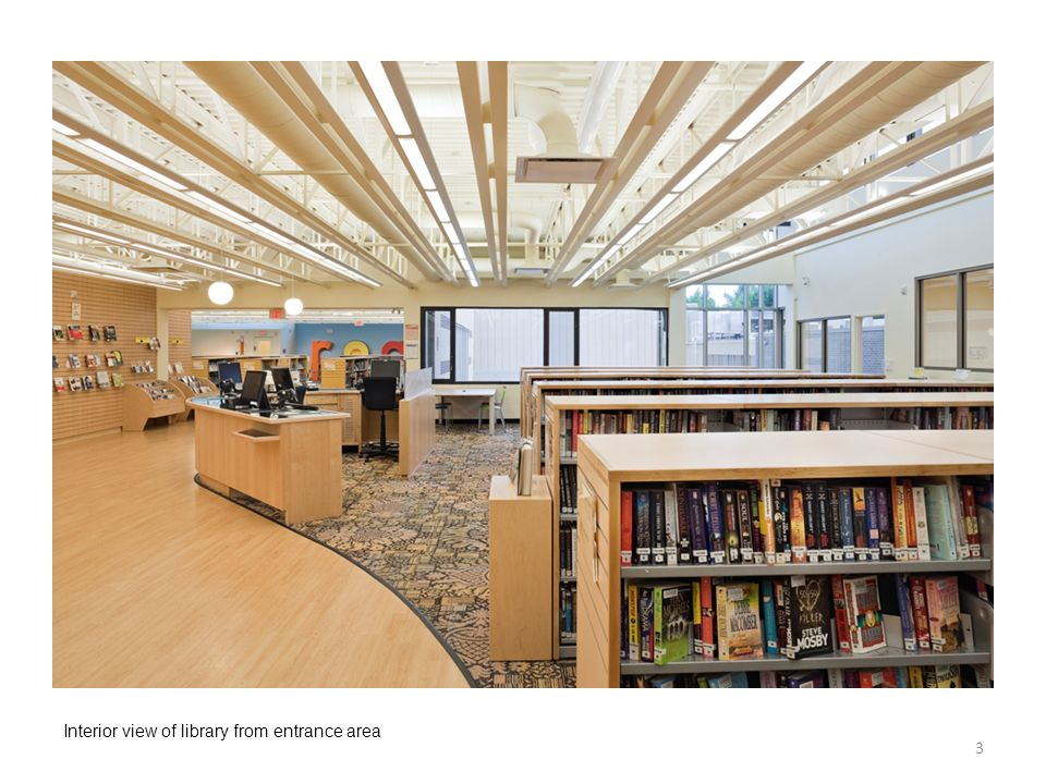 Interior view of library from entrance area 3