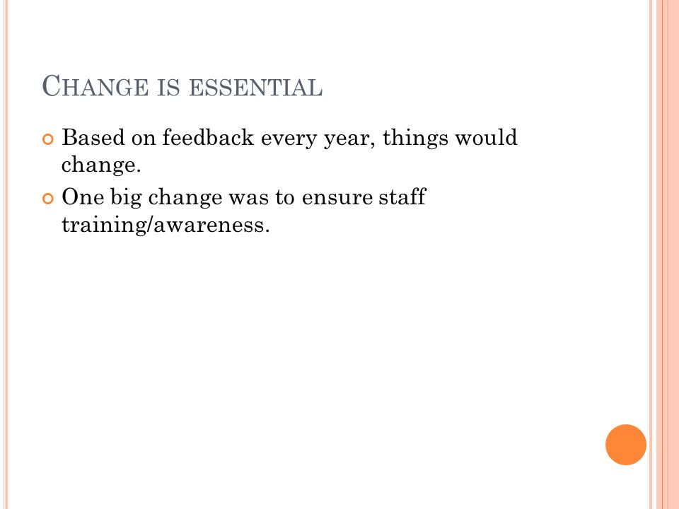 C HANGE IS ESSENTIAL Based on feedback every year, things would change.