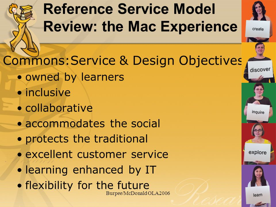 Burpee/McDonald OLA2006 Reference Service Model Review: the Mac Experience Commons:Service & Design Objectives owned by learners inclusive collaborative accommodates the social protects the traditional excellent customer service learning enhanced by IT flexibility for the future
