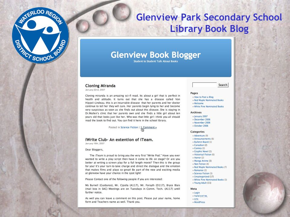 Glenview Park Secondary School Library Book Blog