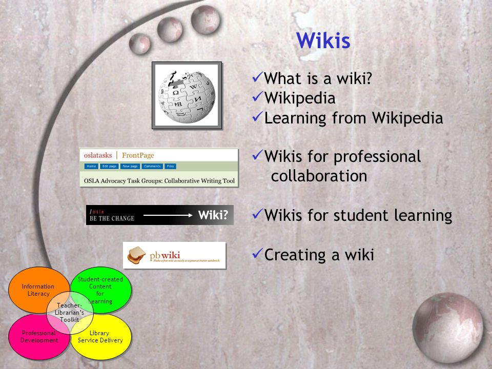 Wikis What is a wiki? Wikipedia Learning from Wikipedia Library Service Delivery Library Service Delivery Professional Development Professional Develo