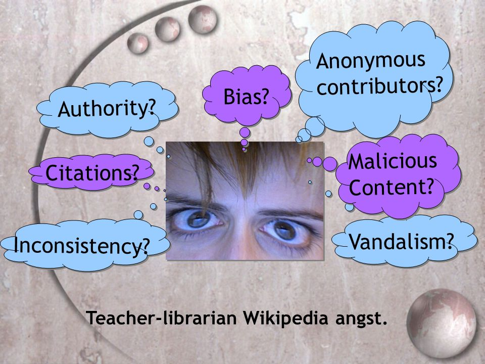 Authority? Citations? Anonymous contributors? Vandalism? Inconsistency? Bias? Malicious Content? Teacher-librarian Wikipedia angst.