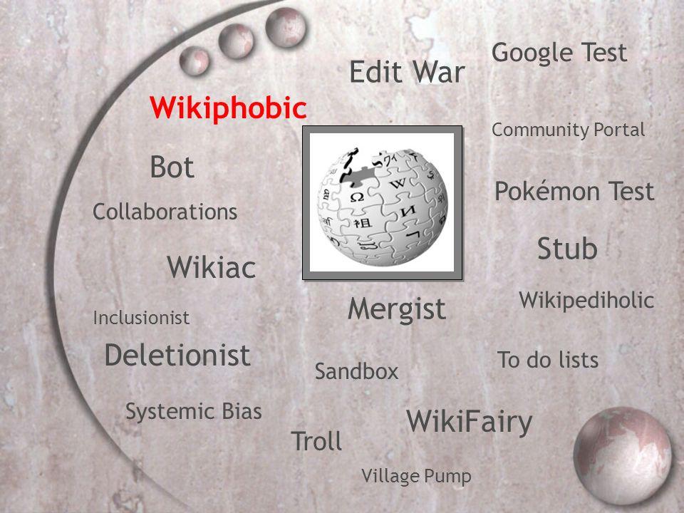 Bot Collaborations Community Portal Deletionist Edit War Google Test Inclusionist Mergist Pokémon Test Sandbox Stub Systemic Bias To do lists Troll WikiFairy Wikipediholic Wikiphobic Wikiac Village Pump