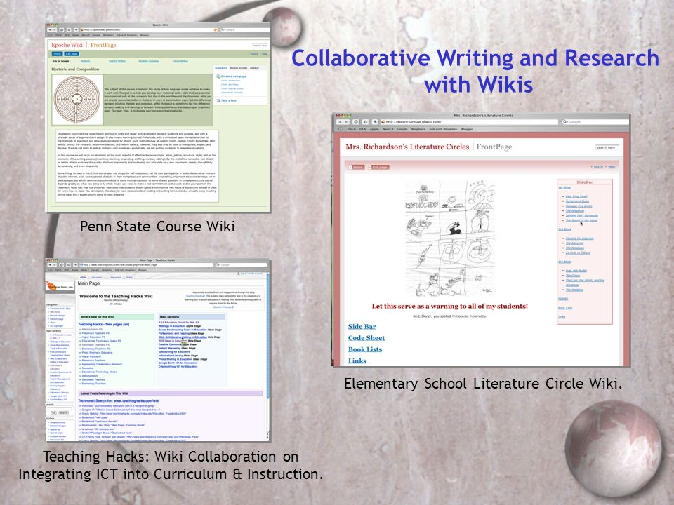 Collaborative Writing and Research with Wikis Penn State Course Wiki Teaching Hacks: Wiki Collaboration on Integrating ICT into Curriculum & Instructi
