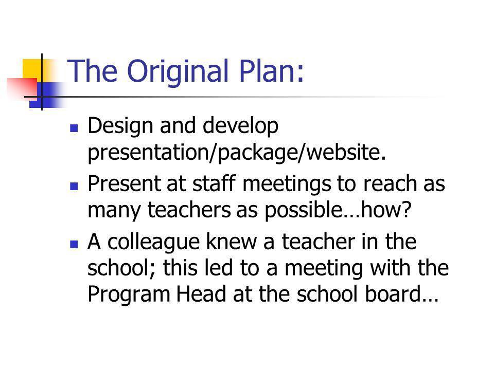 The Original Plan: Design and develop presentation/package/website.