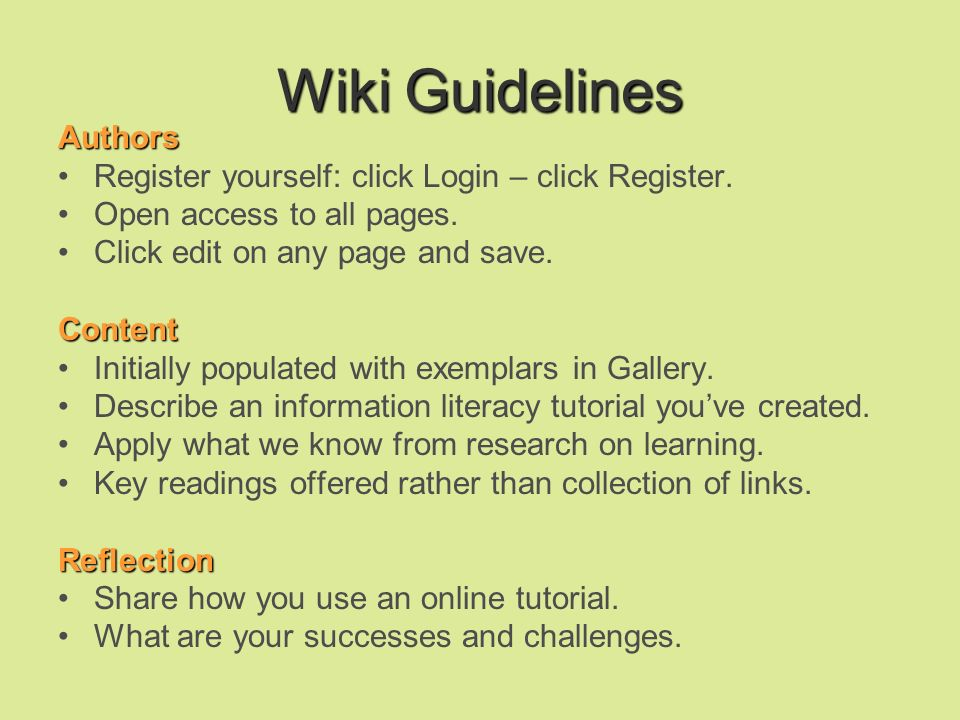 Wiki Guidelines Authors Register yourself: click Login – click Register.
